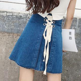 Lace Up Back A-line Denim Skirt