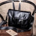 Faux-leather Messenger Bag Black - One Size