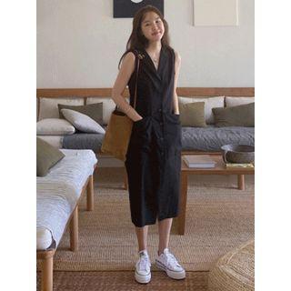 Notched-lapel Linen Blend Long Shirtdress One Size