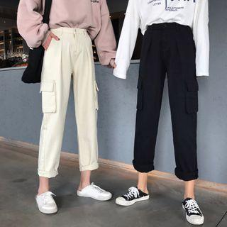 Plain Straight-cut Cropped Cargo Pants