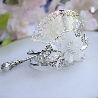 Set: Retro Floral Hair Pin + Tiara Hair Pin & Tiara - Silver & White - One Size