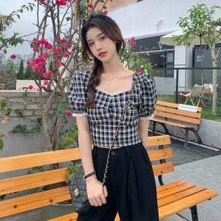 Puff-sleeve Plaid Lace Trim Crop Top