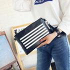 Faux-leather Striped Clutch