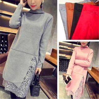Lace Hem Long Sleeve Mock Neck Knit Dress