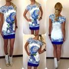 Printed Short Sleeve Sheath Dress
