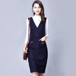 Bow Detail V-neck Pinafore Dress