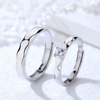 Couple Matching Polished 925 Sterling Silver / Rhinestone Open Ring