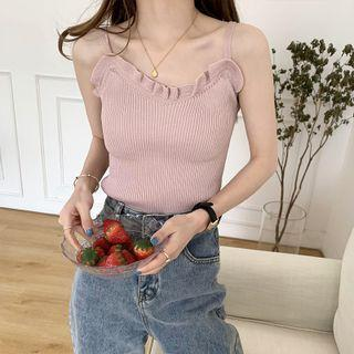 Ruffle Ribbed Knit Camisole Top