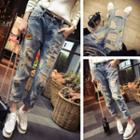 Applique Ripped Washed Jeans