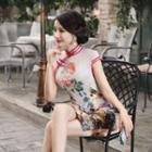 Cap-sleeved Silk Qipao