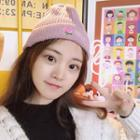Rose Embroidered Knit Beanie