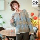 Plus Size Argyle Pattern Sweater