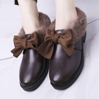 Faux Leather Furry Bow Loafers