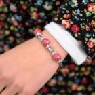 Bead Leaf Charm Bracelet Red - One Size
