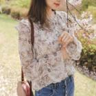 Ruffled Capelet Floral Chiffon Blouse