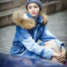 Furry Trim Colour Block Hooded Coat