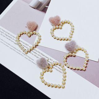 Fluffy & Faux Pearl Heart Earring