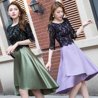 Asymmetric Elbow-sleeve Lace Panel A-line Dress