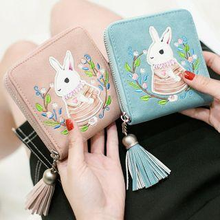 Tassel Rabbit Embroidered Faux Leather Wallet