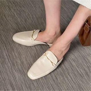 Metal-trim Backless Penny Loafers