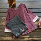 3/4-sleeve Floral Embroidery Plaid Top
