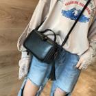 Faux Leather Studded Tassel Box Crossbody Bag