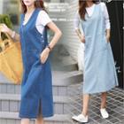 Button-side Denim Midi Pinafore Dress