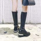 Genuine Leather Embellished Tall Boots