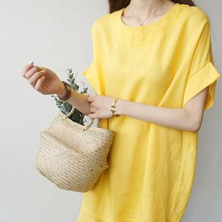 Linen Ruffle-hem Dress