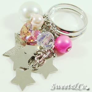 Sweet Neon Stars Fuchsia Pearl Silver Ring