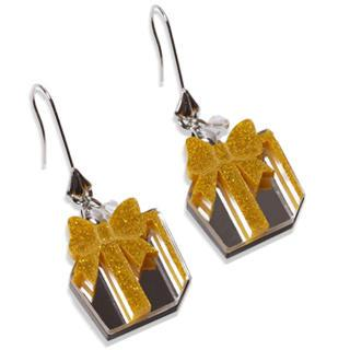 Glitter Yellow Present Dangle Silver Earrings