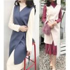Long-sleeve A-line Midi Dress / Long Vest