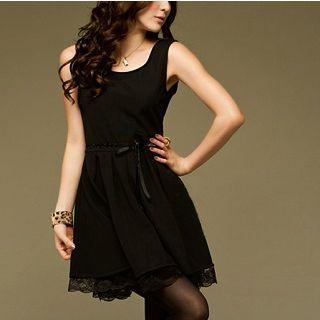 Lace-panel Sleeveless Dress Black - One Size