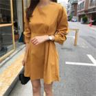 Balloon-sleeve Pleated Flare Dress Mustard Yellow - One Size