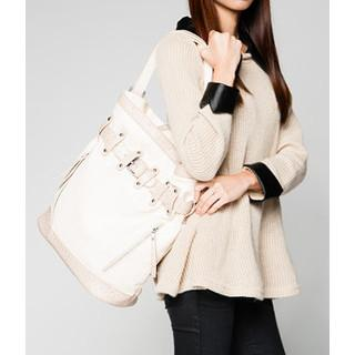 Faux Ostrich Trim Belted Tote Ivory - One Size