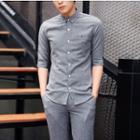 Plain Elbow Sleeve Shirt