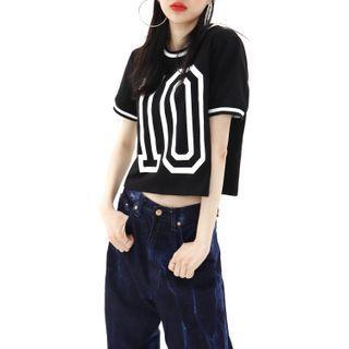 Printed Cropped Ringer T-shirt Black - One Size