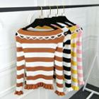 Cut Out Detail Striped Long Sleeve Knit Top