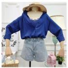 Set: Lace Trim Camisole Top + Plain Shirt