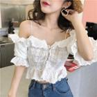 Cold-shoulder Lace Top As Shown In Figure - One Size