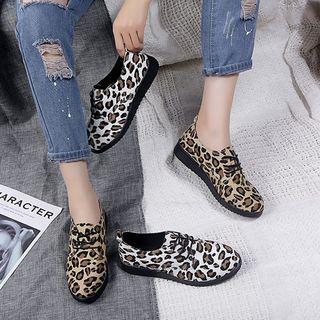 Leopard Print Platform Lace Up Shoes