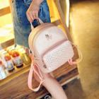 Faux-leather Cutout Crown Backpack