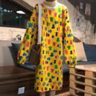 Mock Turtleneck Midi Printed Pullover Dress