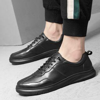 Genuine-leather Lace-up Plain Sneakers