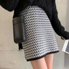 Mini Patterned Knit Skirt
