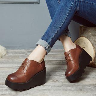 Platform Wedge Genuine Leather Oxfords
