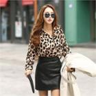 Leopard Blouse Brown - One Size