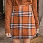 Wool Blend Plaid Miniskirt