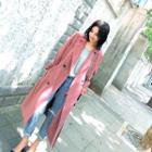 Notched-lapel Buttoned Plain Trench Coat