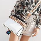 Color Block Handbag With Floral Embroidered Strap